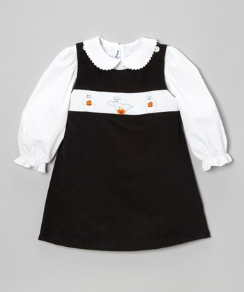 White Top & Black Boo Jumper - Infant & Toddler