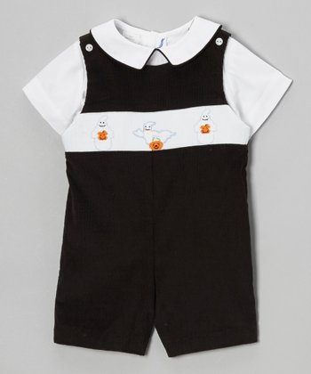 White Top & Black Boo Shortalls - Infant & Toddler