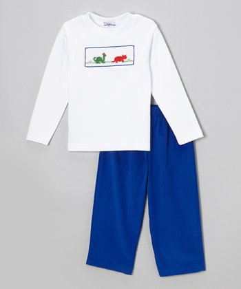 White Dinosaur Tee & Blue Pants - Infant & Toddler