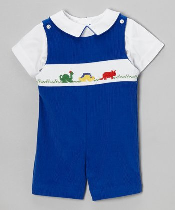 White Top & Blue Dinosaur Shortalls - Infant & Toddler