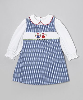 White Top & Blue Dolls Jumper - Infant & Toddler