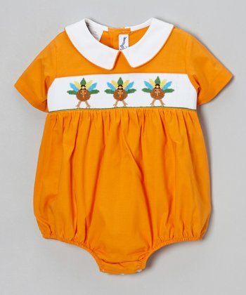 Orange Turkey Bubble Bodysuit - Infant