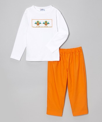 White Turkey Tee & Orange Pants - Infant & Toddler