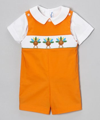 White Top & Orange Turkey Shortalls - Infant & Toddler