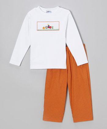White Harvest Tee & Orange Gingham Pants - Infant & Toddler