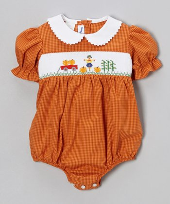Orange Harvest Gingham Bubble Bodysuit - Infant