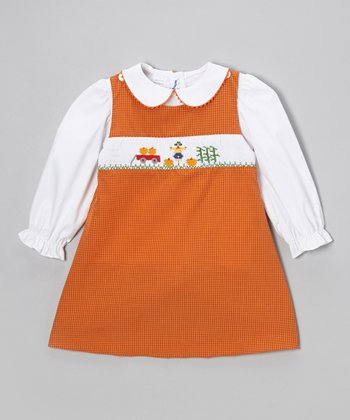 White Top & Orange Harvest Jumper - Infant, Toddler & Girls