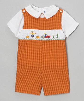 White Top & Orange Harvest Gingham Shortalls - Infant & Toddler