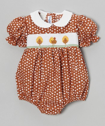 Brown Polka Dot Turkey Bubble Bodysuit - Infant