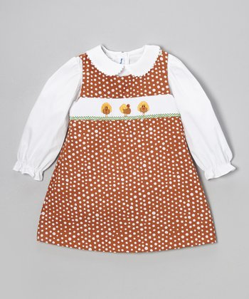 White Top & Brown Turkey Jumper - Infant, Toddler & Girls