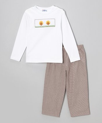 White Turkey Tee & Brown Pants - Infant & Toddler