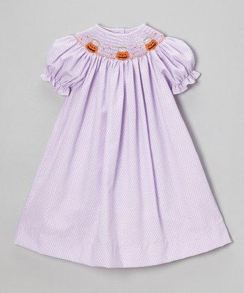 Purple Jack-o'-Lantern Bishop Dress - Infant, Toddler & Girls