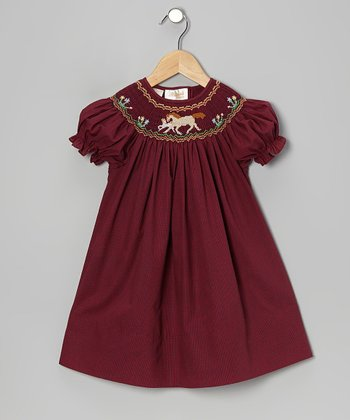 Maroon Horse Bishop Dress - Infant, Toddler & Girls