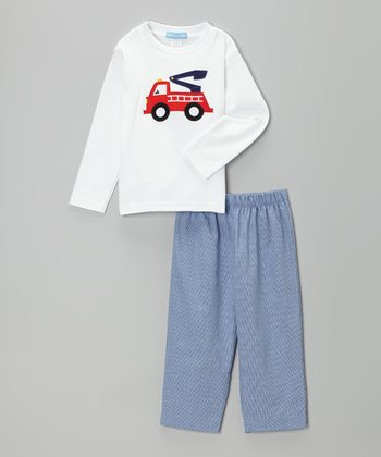 White Fire Truck Tee & Blue Gingham Pants - Toddler & Boys