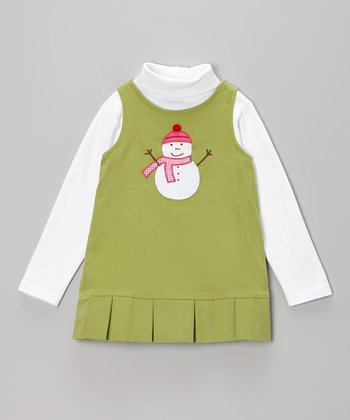 White Turtleneck & Green Snowman Jumper - Infant, Toddler & Girls