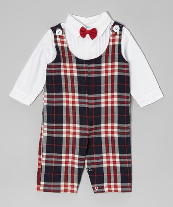 White Button-Up & Red Plaid Romper Set - Infant