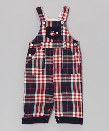 Red & Navy Plaid Helicopter Overalls - Infant
