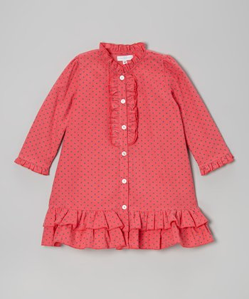 Hot Pink Polka Dot Ruffle Dress - Infant & Toddler