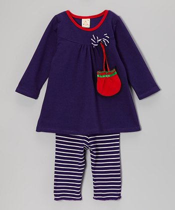 Purple Candy Stripe Bow Top Set - Infant & Toddler