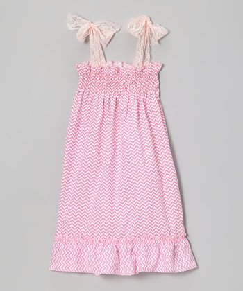 Pink & White Zigzag Lace Shirred Dress - Toddler & Girls