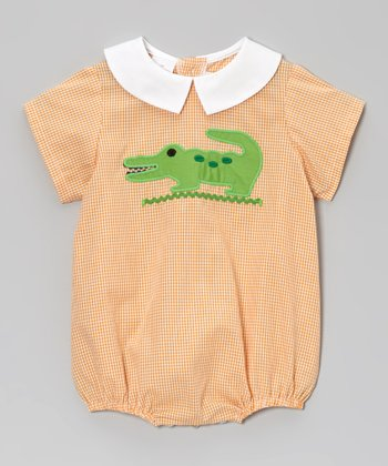 Orange Gingham Alligator Bubble Bodysuit - Infant