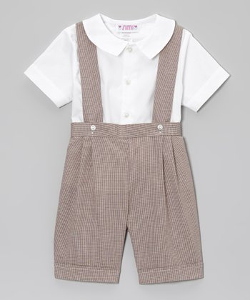 White Button-Up & Brown Suspender Shorts - Infant & Toddler