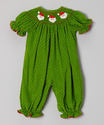 Green Polka Dot Santa Smocked Playsuit - Infant