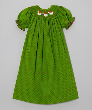 Green Polka Dot Santa Bishop Dress - Infant, Toddler & Girls