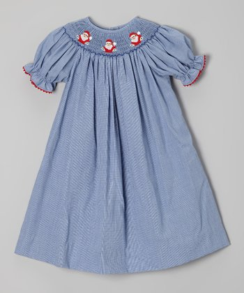 Blue Santa Bishop Dress - Toddler & Girls