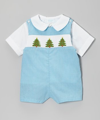 White Button-Up & Blue Tree John Johns - Infant & Toddler