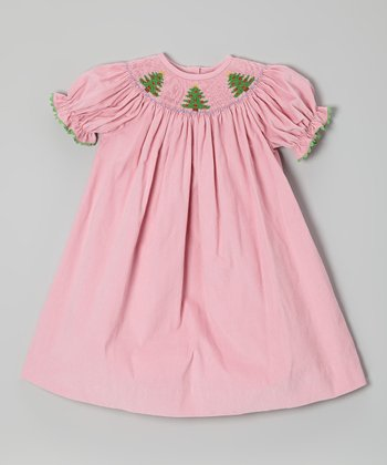 Pink Christmas Tree Bishop Dress - Toddler & Girls