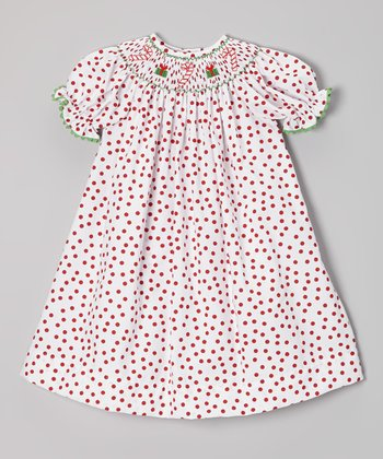 Red Polka Dot Candy Cane Bishop Dress - Infant, Toddler & Girls