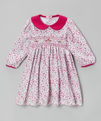 Red Floral Smocked Dress - Infant & Toddler