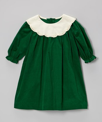 Green & White Corduroy Swing Dress - Infant