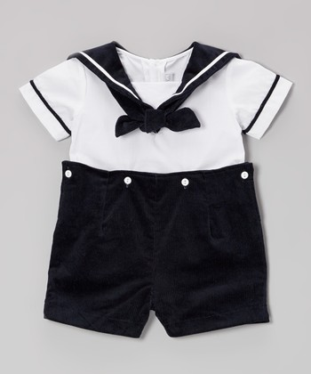 White & Navy Sailor Convertible Romper - Infant & Toddler