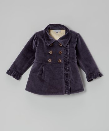 Navy Velour Ruffle Jacket - Infant & Toddler