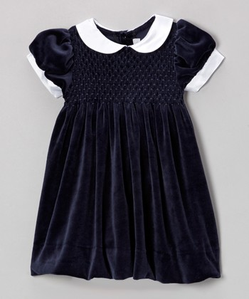 Navy Smocked Velveteen Dress - Infant & Toddler