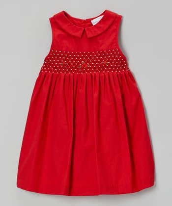 Red Rosette Smocked Dress - Toddler & Girls