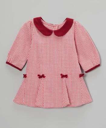Red Gingham Bow Dress - Infant
