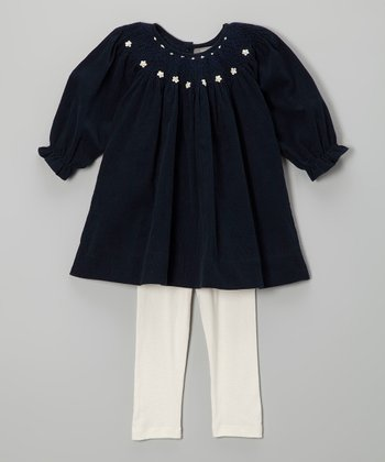 Navy Flower Bishop Dress & White Leggings - Toddler