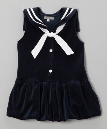 Navy Velour Drop-Waist Dress - Girls