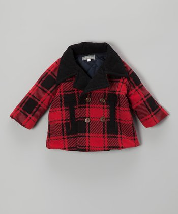 Black & Red Plaid Peacoat - Infant & Toddler