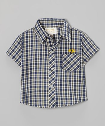 Navy Plaid Monogram Button-Up - Infant, Toddler & Boys