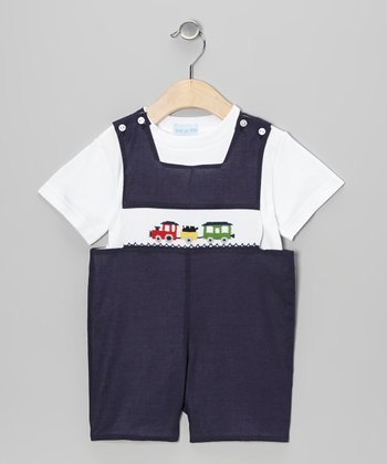 White Tee & Navy Train John Johns - Infant & Toddler