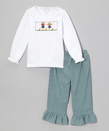 White Harvest Tee & Blue Ruffle Pants - Infant, Toddler & Girls
