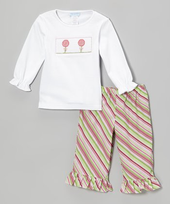 White Lollipops Tee & Pink Ruffle Pants - Infant, Toddler & Girls