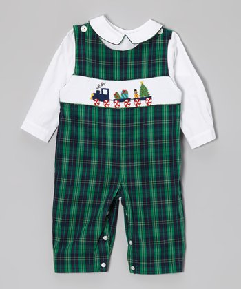 White Top & Green Christmas Overalls - Infant & Toddler