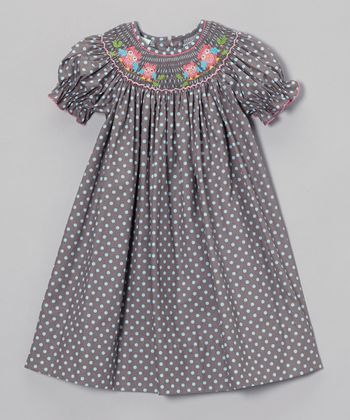 Gray Polka Dot Owls Bishop Dress - Infant & Girls