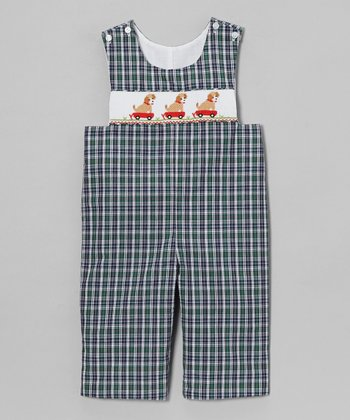 Green Plaid Puppies John Johns - Infant & Toddler