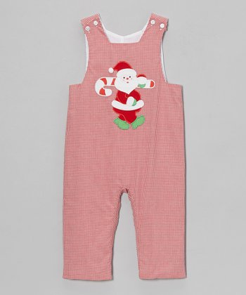 Red Gingham Santa Overalls - Infant & Toddler